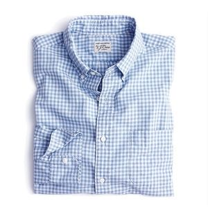 New JCREW Secret Wash Shirt Blue Poplin Gingham